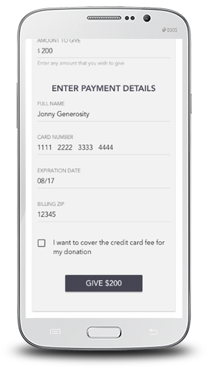 OneCause Text2Give Payment Screen