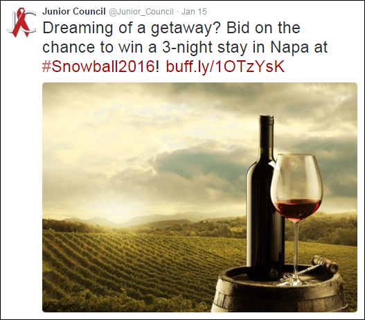 Use social media to promote your features packages for silent auction pre-bidding as they're available.