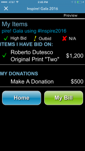 OneCause silent auction pre-bidding tools include a my items features that allows guests to save their favorite items.