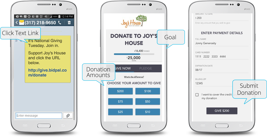 Text to Give donation process displayed on three mobile phones