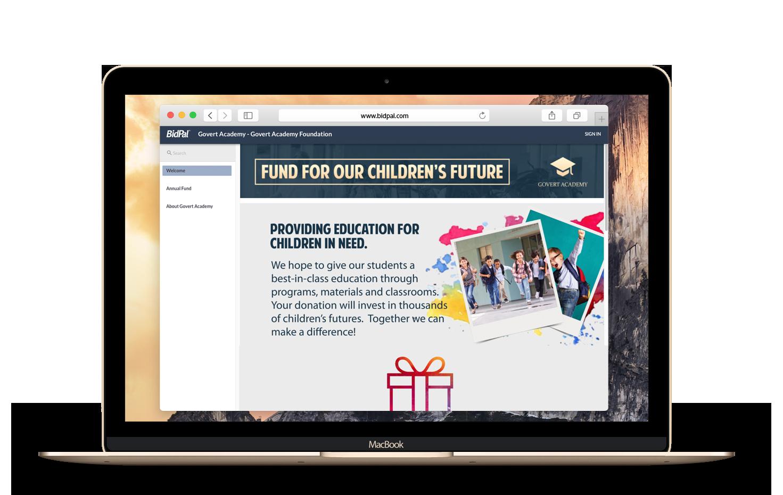 Laptop showcasing online giving