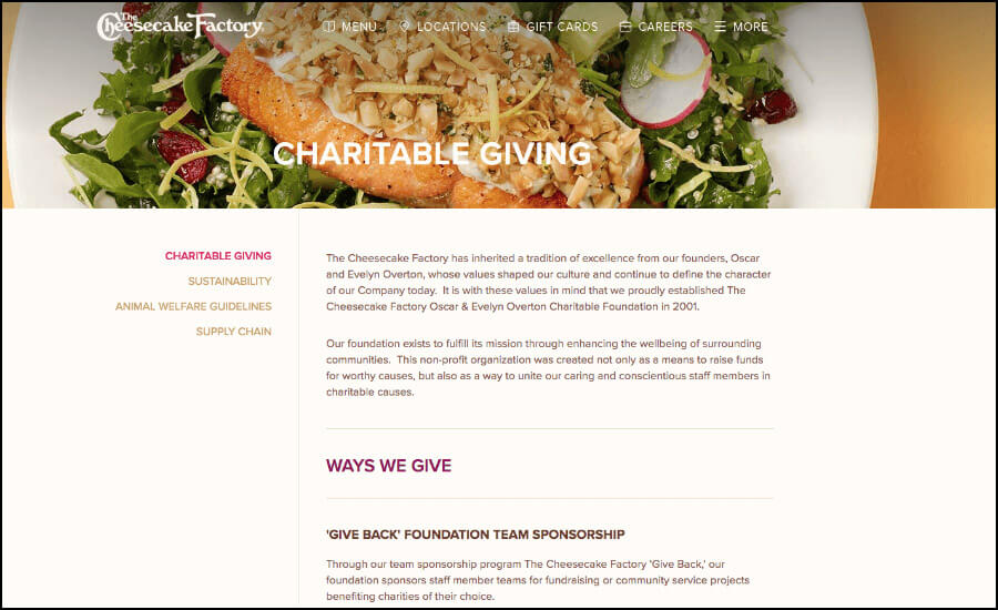 The cheesecake factory help PTA's raise funds for their school.