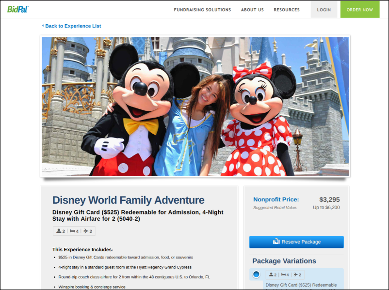 Kids and families will love a trip to Disney as a silent auction donation.