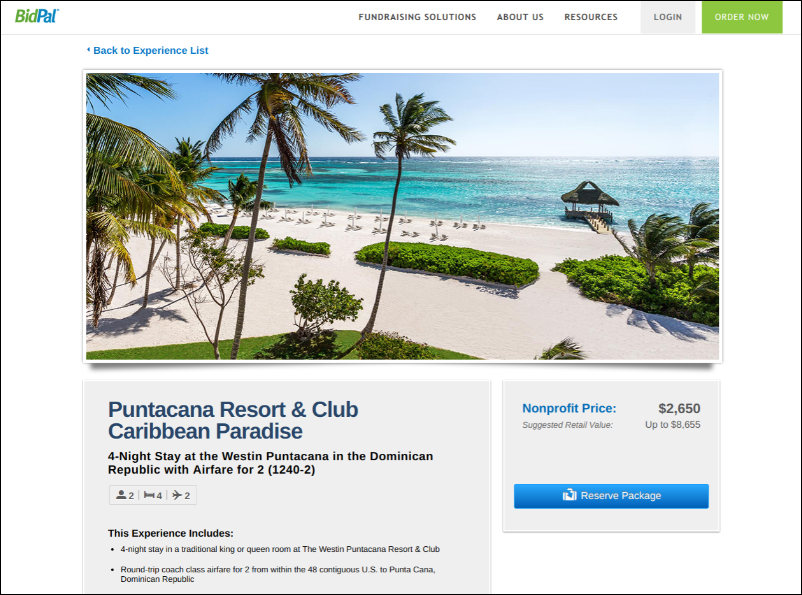 Offer your attendees a trip to Punta Cana to bid on as a silent auction donation.
