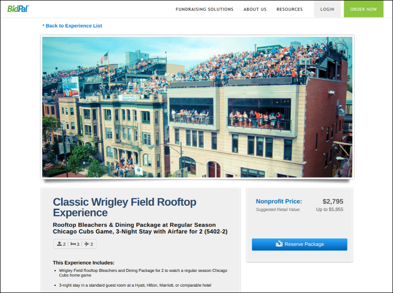 Auction off this once in a life time Wrigley experience as a silent auction donation.