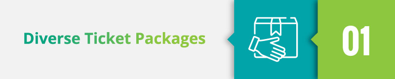 Look for diverse ticket packaging as a must-have feature for online event registration software.