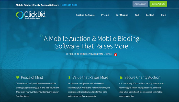Find out more about Clickbid's mobile bidding software.