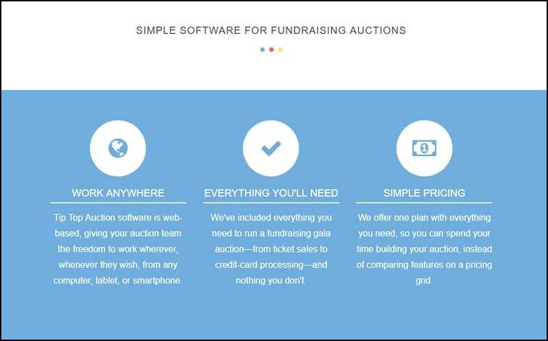 Tip Top Auctions straightforward and simple features make it a top silent auction software for nonprofits.