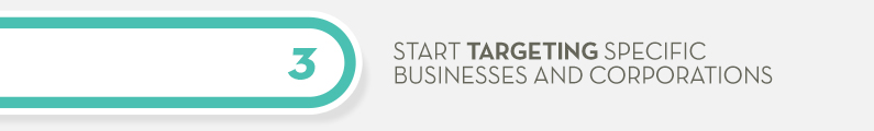 3) Start Targeting Specific Businesses and Corporations.