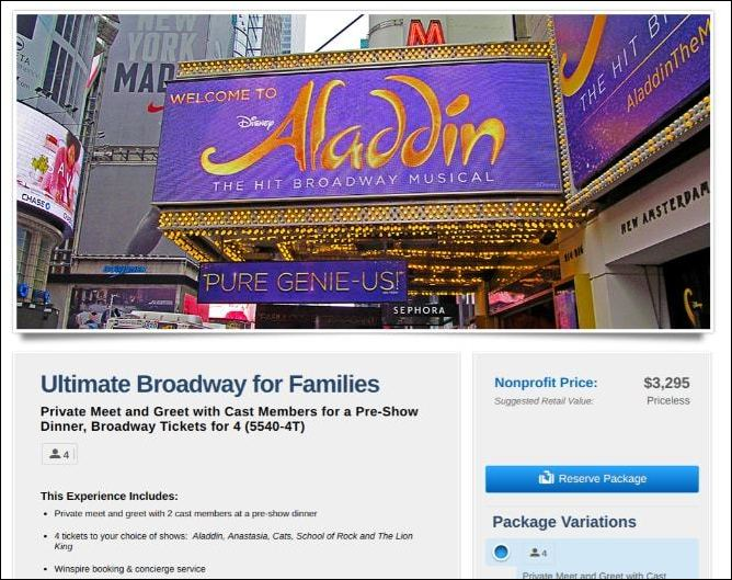 An exclusive package trip to a Broadway show is a perfect silent auction donation.