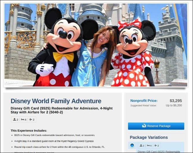 Kids and families will love a trip to Disney World as a silent auction donation.