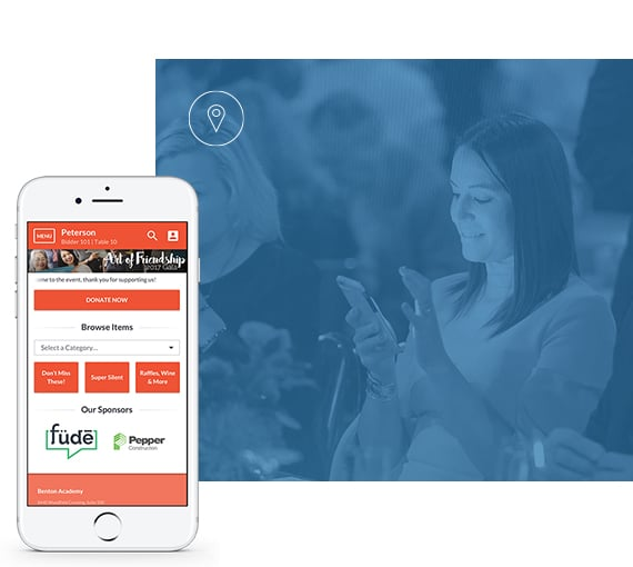 Fundraising Event Software showcased on a mobile phone