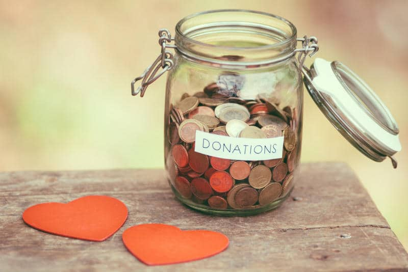 Donations in a jar