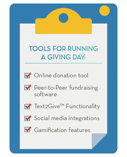 Use this checklist to organize your tools and software for your giving day campaign.