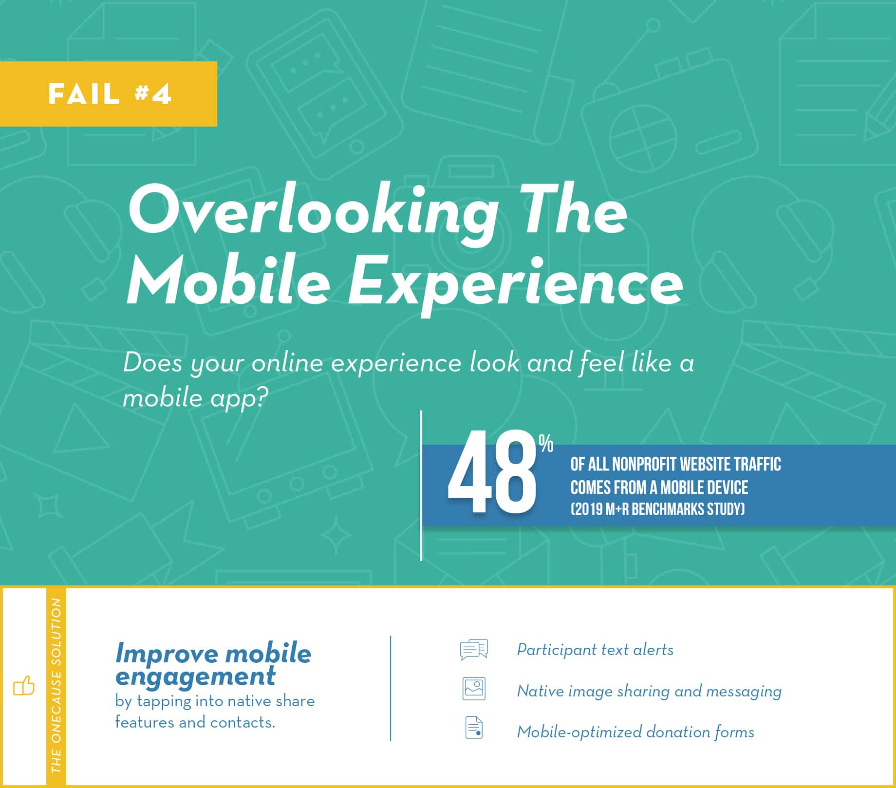 Fail #4: Overlooking the mobile experience. Does your online experience look and feel like a mobile app?