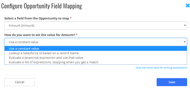 8> Configure Opportunity Field Mapping