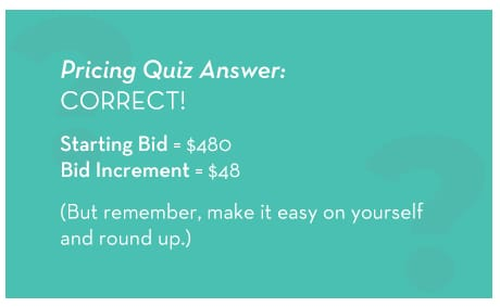 How to Price Silent Auction Items Pricing Quiz Answer