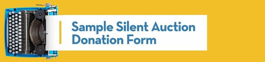 Sample Silent Auction Donation Form