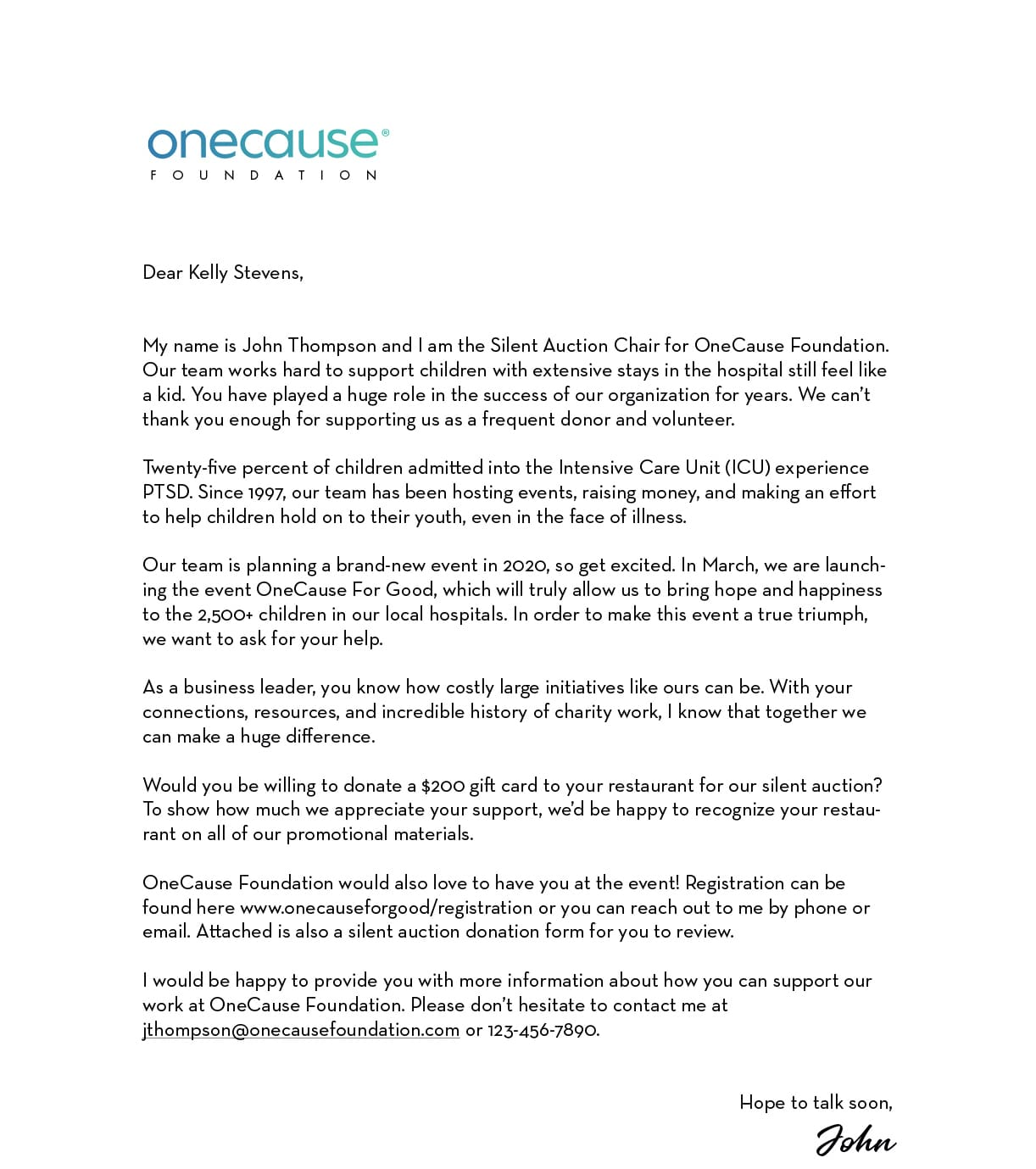 Sample Letter Requesting Child Support from www.onecause.com