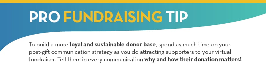 To build a more loyal and sustainable donor base spend as much time on your post-gift communication strategy as you do attracting supporters to your virtual fundraiser
