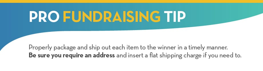 PRO FUNDRAISING TIP: Properly package and ship out each item to the winner in a timely manner. Be sure you require address and insert a flat shipping charge if you need to.