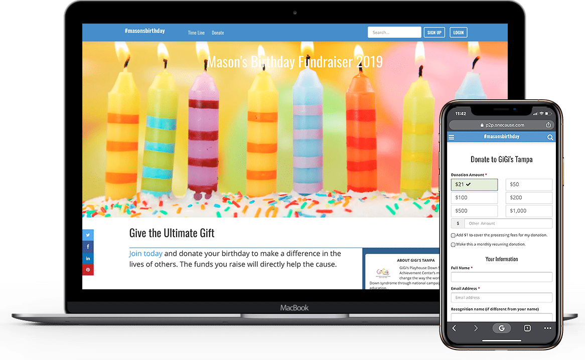 Example of a Tribute peer-to-peer Fundraising page honoring a donor's birthday