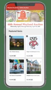 Wayland Academy Online Auction UI Image