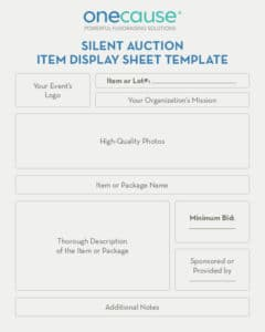 Use this silent auction display sheet template to provide more information about your items.