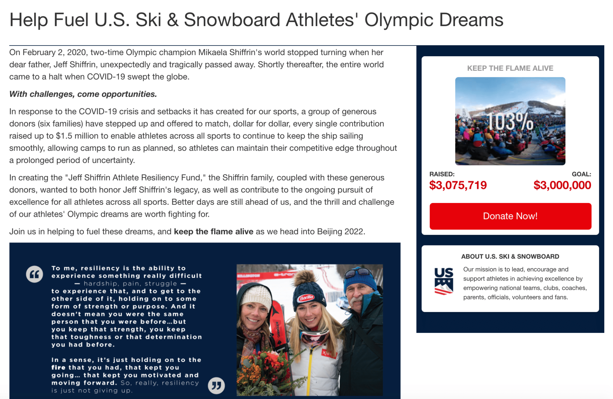 The U.S. Ski & Snowboard Foundation used online fundraising and peer-to-peer techniques to fund their Olympic efforts.