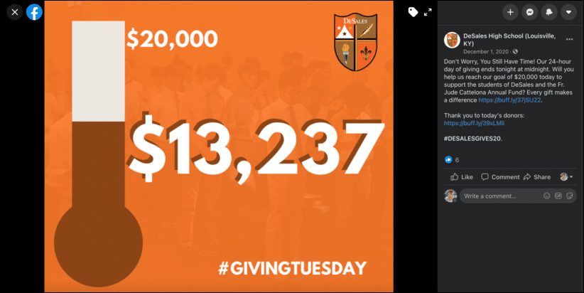 DeSales High School used awareness campaign tactics to exceed its Giving Tuesday goals.