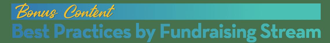 BONUS CONTENT: Best Practices by Fundraising Stream