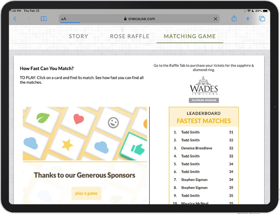 OneCause Sponsor Matching Game-Product Image