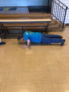 Participant completing push ups